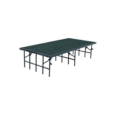 """Portable Stage with Carpet - 96""""L x 48""""W x 16""""H - Grey"""