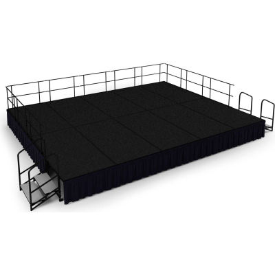 """NPS® 16' x20' Stage Package, 24"""" Height, Black Carpet, Black Shirred Pleat Skirting"""