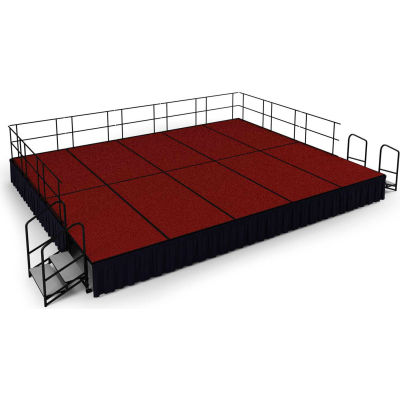 """NPS® 16' x20' Stage Package, 24"""" Height, Red Carpet, Black Shirred Pleat Skirting"""