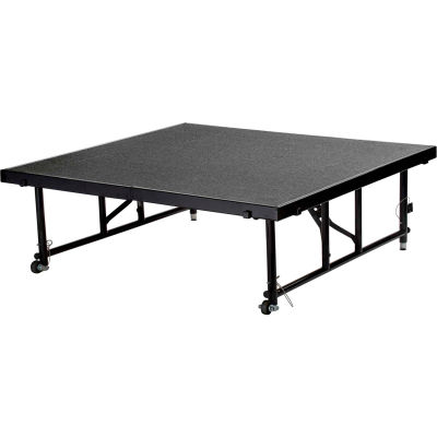 """National Public Seating® Transfix 4'L x 4'W Portable Stage w/ Adjustable 24-32""""H & Gray Carpet"""