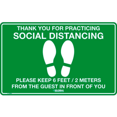 "Global Industrial® Green Social Distancing Floor Sign ,16"" W x 10"" H,  Vinyl Adhesive"