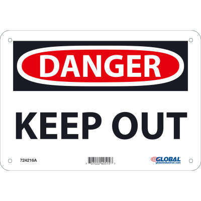 Global Industrial™ Danger Keep Out, 7x10, Aluminum