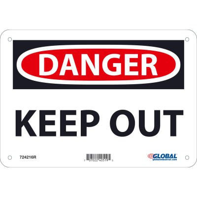Global Industrial™ Danger Keep Out, 7x10, Rigid Plastic
