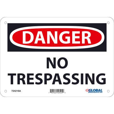 Global Industrial™ Danger No Trespassing, 7x10, Aluminum
