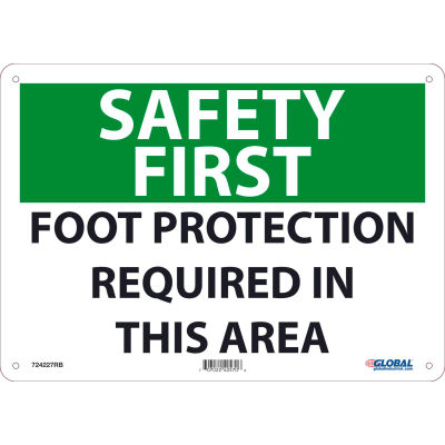 Global Industrial™ Safety First Foot Protection Required In This Area, 10x14, Rigid Plastic