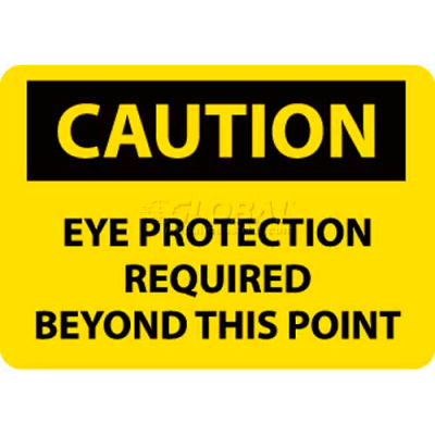 """NMC C152RB OSHA Sign, Caution Eye Protection Required Beyond This Point, 10"""" X 14"""", Yellow/Black"""