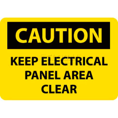 "NMC C167P OSHA Sign, Caution Keep Electrical Panel Area Clear, 10"" X 7"", Yellow/Black"