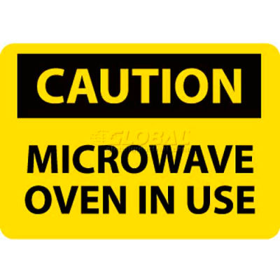 """NMC C180R OSHA Sign, Caution Microwave Oven In Use, 7"""" X 10"""", Yellow/Black"""