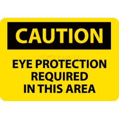 """NMC C26AB OSHA Sign, Caution Eye Protection Required In This Area, 10"""" X 14"""", Yellow/Black"""