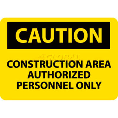 """NMC C445RB OSHA Sign, Caution Construction Area Authorized Personnel Only, 10"""" X 14"""", Yellow/Black"""