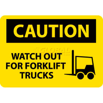 "NMC C637PB OSHA Sign, Caution Watch Out For Fork Lift Trucks, 10"" X 14"", Yellow/Black"