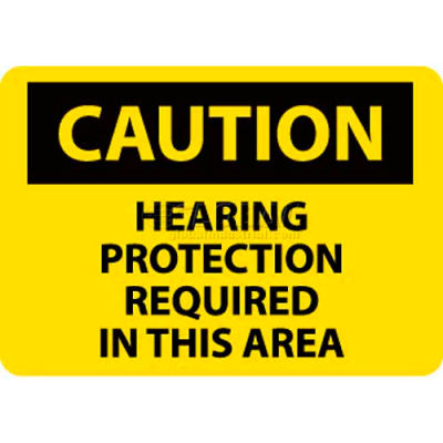 """NMC C88P OSHA Sign, Caution Hearing Protection Required In This Area, 7"""" X 10"""", Yellow/Black"""