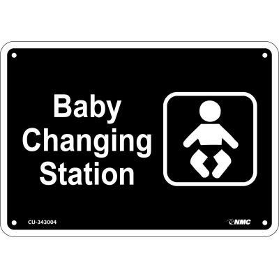 "Baby Changing Station Sign - Rigid Plastic 7""H x 10""W, CU-343004"