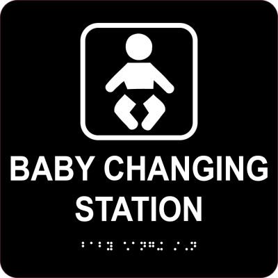 """Baby Changing Station Sign - Engraved Braille 8""""H x 8""""W, CU-343007"""