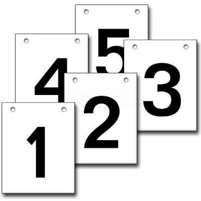 """Hanging Aisle Sign, Vertical, 2-Side, 1-5 Range, BLK/WHT, 12""""L X 18""""H"""