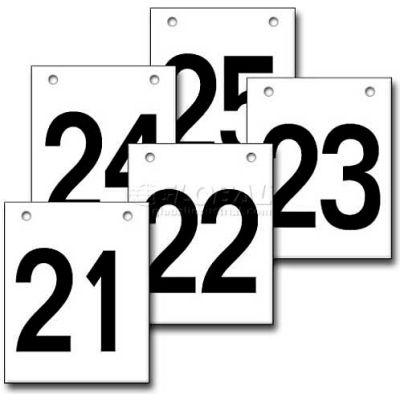 """Hanging Aisle Sign, Vertical, 1-Side, 21-25 Range, BLK/WHT, 12""""L X 18""""H"""