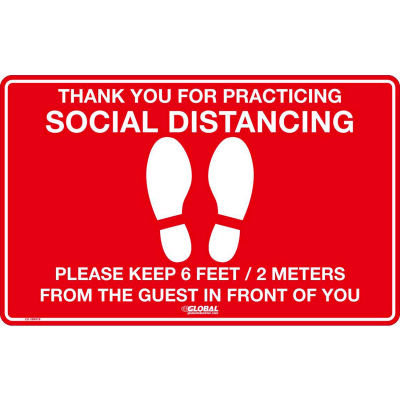 "Global Industrial™ Red Social Distancing Floor Sign, 16"" W x 10"" H, Vinyl Adhesive"