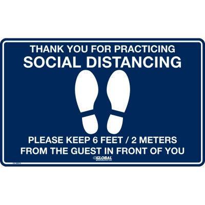 """Global Industrial™ Dark Blue Social Distancing Floor Sign, 16"""" W x 10"""" H , Vinyl Adhesive"""