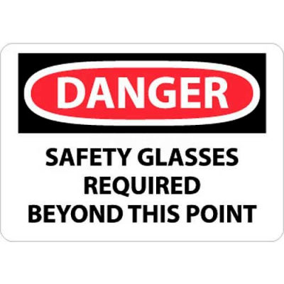 "NMC D108RB OSHA Sign, Danger Safety Glasses Required Beyond This Point, 10"" X 14"", White/Red/Black"
