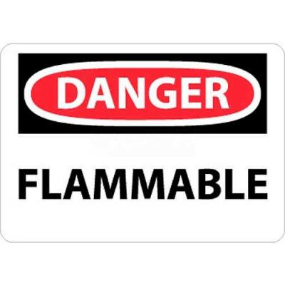 """NMC D126AB OSHA Sign, Danger Flammable, 10"""" X 14"""", White/Red/Black"""
