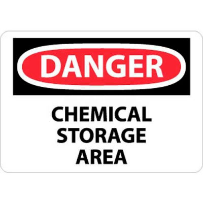 "NMC D239RB OSHA Sign, Danger Chemical Storage Area, 10"" X 14"", White/Red/Black"