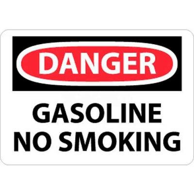 "NMC D388P OSHA Sign, Danger Gasoline No Smoking, 7"" X 10"", White/Red/Black"