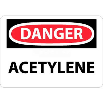 "NMC D3P OSHA Sign, Danger Acetylene, 7"" X 10"", White/Red/Black"