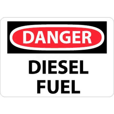 "NMC D427P OSHA Sign, Danger Diesel Fuel, 7"" X 10"", White/Red/Black"