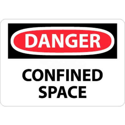 "NMC D487AB OSHA Sign, Danger Confined Space, 10"" X 14"", White/Red/Black"