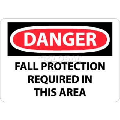 "NMC D529RB OSHA Sign, Danger Fall Protection Required In This Area, 10"" X 14"", White/Red/Black"