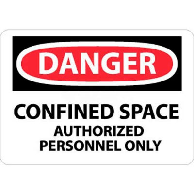 """NMC D643AB OSHA Sign, Danger Confined Space Authorized Personnel Only, 10"""" X 14"""", White/Red/Black"""
