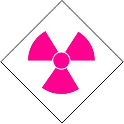 """NMC DCL152 NFPA Label Symbol, Radiation, 2-1/2"""" X 2-1/2"""", White/Pink, 5/Pk"""
