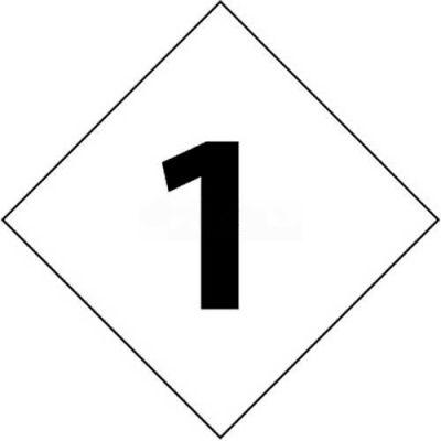 "NMC DCN61 NFPA Label Number, 1, 7-1/2"" X 7-1/2"", White/Black, 5/Pk"