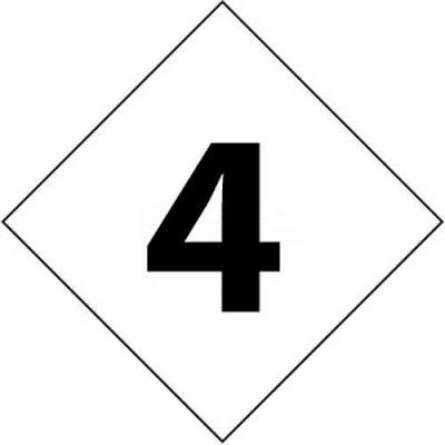 "NMC DCN64 NFPA Label Number, 4, 7-1/2"" X 7-1/2"", White/Black, 5/Pk"