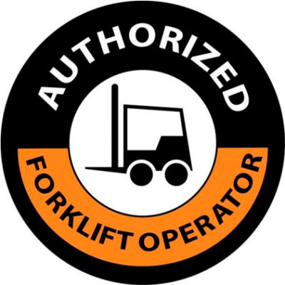 """NMC HH63 Hard Hat Emblem, Authorized Forklift Operator, 2"""" Dia., Orange/Black"""