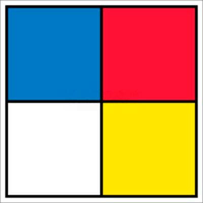 "NMC HMS15R Hazardous Materials Systems Label, 15.5"" X 15.5"", Red/Yellow/White/Blue"