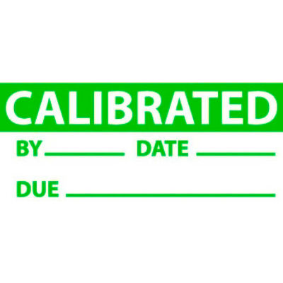 """NMC INL3 Calibrated Date & Initials Label, 1"""" x 2-1/4"""", Green/White, 3/Pack"""