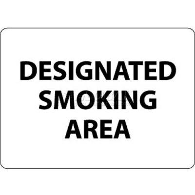 """NMC M102RB No Smoking Area Sign, Designated Smoking Area, 10"""" X 14"""", White/Black"""