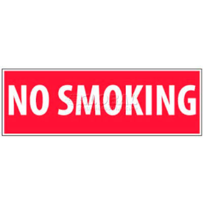"""NMC M11P No Smoking Area Sign, No Smoking, 4"""" X 12"""", White/Red"""