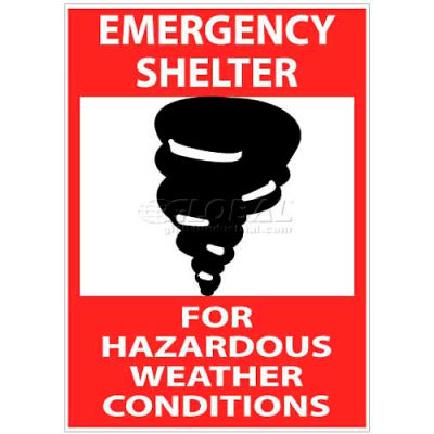 """NMC M121RB Sign, Emergency Shelter For Hazardous Weather Conditions, 14"""" X 10"""", White/Red/Black"""