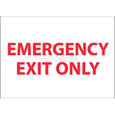 """NMC M34P Fire Sign, Emergency Exit Only, 7"""" X 10"""", White/Red"""