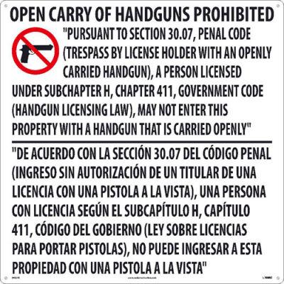 "NCM M461R Texas Open Carry Handgun Law Prohibited Sign, Rigid Plastic, 24"" x 24"""