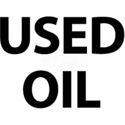 "NMC M750PB Hazardous Materials Sign, Used Oil, 10"" X 14"", White/Black"