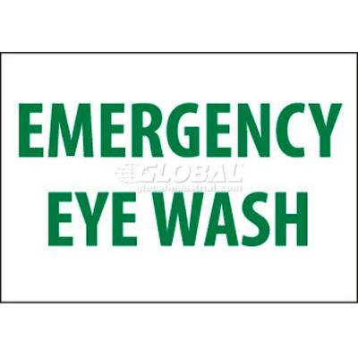"NMC M81RB Sign, Emergency Eye Wash, 10"" X 14"", White/Green"