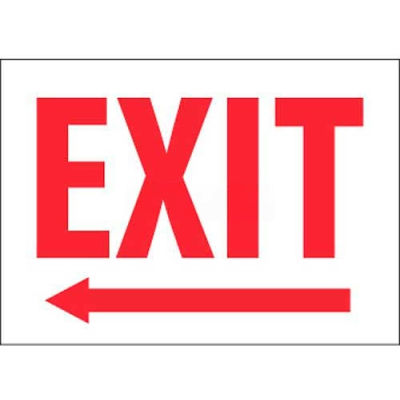 """NMC MELPB Fire Sign, Exit With Left Arrow, 10"""" X 14"""", White/Red"""