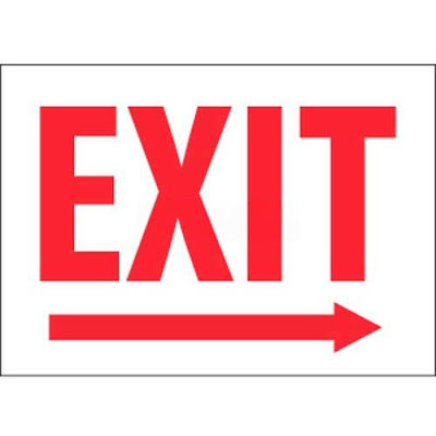 """NMC MERRB Fire Sign, Exit With Right Arrow, 10"""" X 14"""", White/Red"""