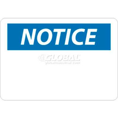 "NMC N1R OSHA Sign, Notice (Heading Only), 7"" X 10"", White/Blue/Black"