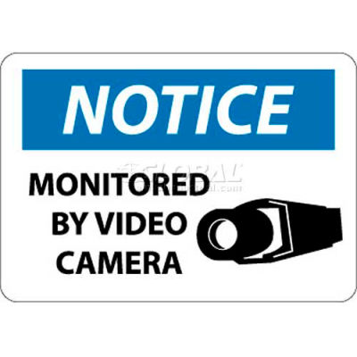 """NMC N297RB OSHA Sign, Notice Monitored By Video Camera, 10"""" X 14"""", White/Blue/Black"""