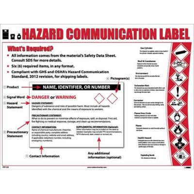 "NMC PST129, GHS Laminated Poster, Hazcom12, Label Format, 24"" x 18"""