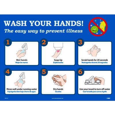 """Wash Your Hands Poster, 18"""" X 24"""", Synthetic Paper"""